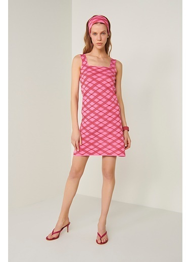 Join Us Neon Askılı Triko Elbise Pembe
